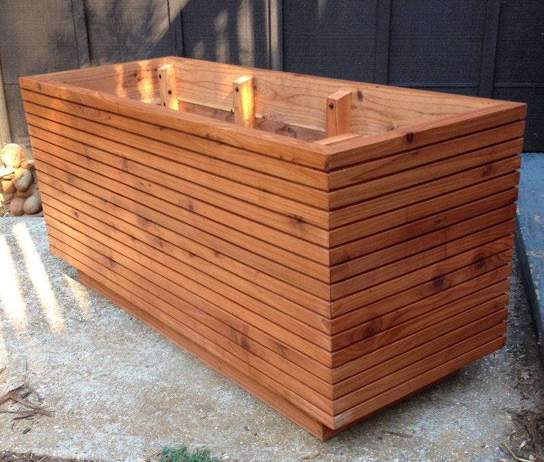 Modern Slatted Redwood Planter Box Mid Century Heavy Timber image 0