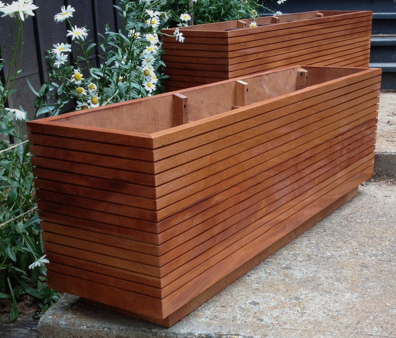 Pleasing Now Available In 36 High Tall Modern Mahogany Planter Boxes Mid Century Modern Free Shipping Outdoor Planter Box Vegetable Garden Download Free Architecture Designs Rallybritishbridgeorg
