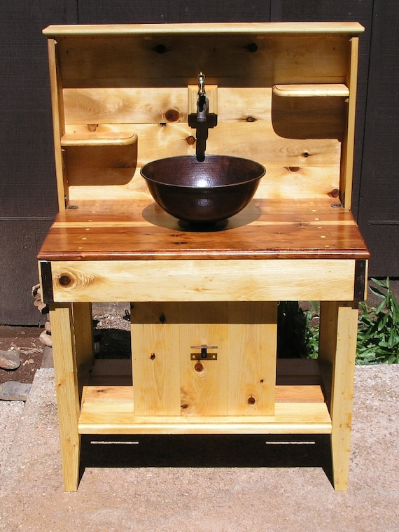 Miraculous Custom Cedar Potting Bench Water Station Outdoor Kitchen Outdoor Bar Wet Sink With Reclaimed Redwood Counter Top Copper Sink And Faucet Evergreenethics Interior Chair Design Evergreenethicsorg