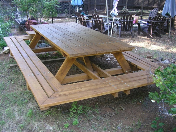 Custom Made Picnic Tables Large ThruBolt Picnic Tables Etsy - Large outdoor picnic table