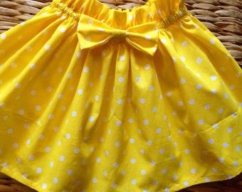 Yellow Polka Dot Bow Skirt