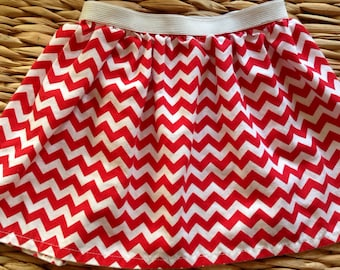 Red and white chevron skirt with elastic waistband