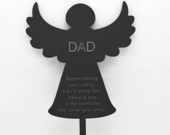 personalized memory angel with stick gravecemetery decoration