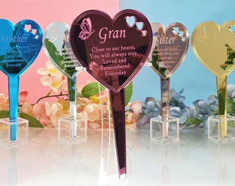 Personalised Memorial Heart stick - cemetery decoration Family name with sentimental poem