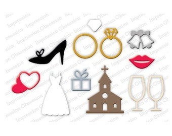 WEDDING ICONS DIE-Impression Obsession (245S) suitable for most die cutters
