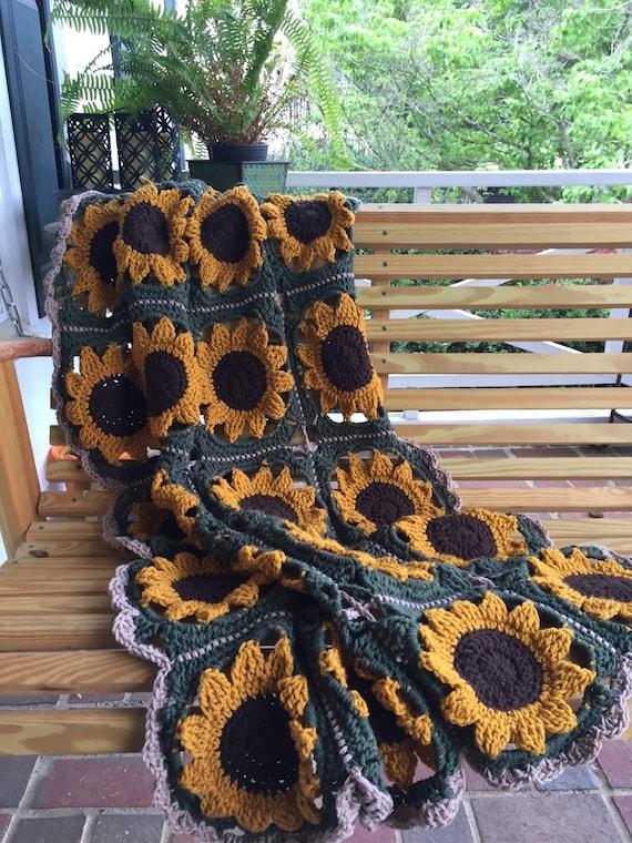 Handmade Granny Square Sunflower Afghan dorm room decor
