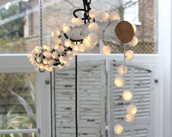 200 pom pom lights, mains powered lights, decorative lights, wedding lights