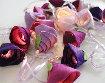 12 Highland Heather rose Lights,  rose string lights, little girls room, wedding lights, Mother's Day gift