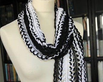 Crochet Lace Scarf Black and white 190x21cm (74.8x8.3in), 100% Cotton
