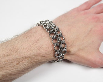 Orbit Loop Bracelet, Chainmaille Bracelet, Stainless Steel, Chainmail Bracelet, Maille Bracelet, Mens Bracelet, Mens Jewelry, Orbitals