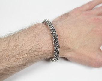 Intertwined Bracelet, Chainmaille Bracelet, Stainless Steel, Spiral Weave, Mens Bracelet, Mens Jewelry
