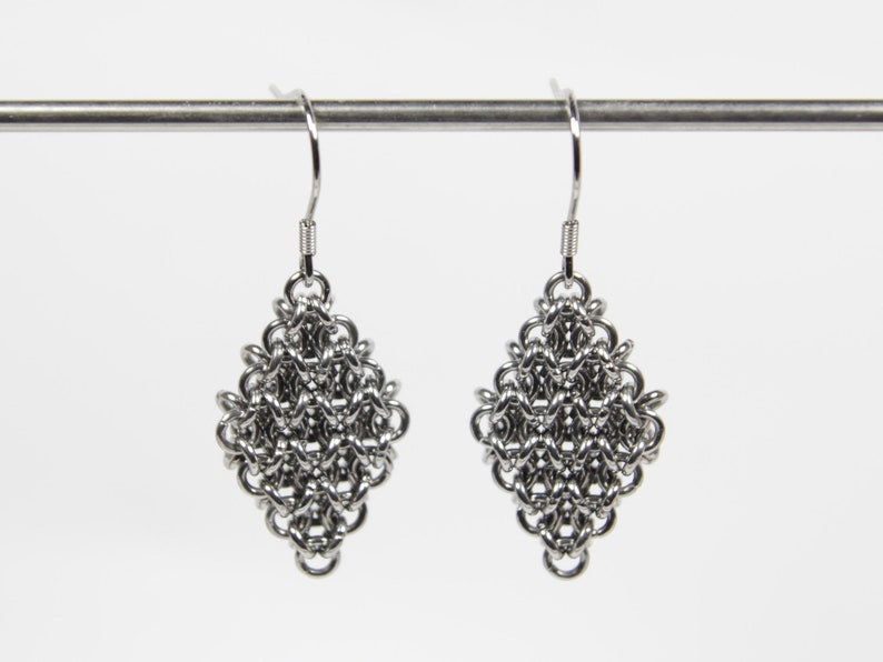 Japanese 4 in 1 Earrings Chainmaille Earrings Stainless image 0