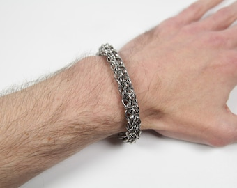 Twin Spiral Accent Bracelet, Chainmaille Bracelet, Stainless Steel Bracelet, Maille Bracelet, Spiral Weave, Mens Bracelet, Mens Jewelry