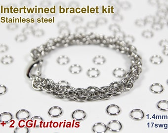 Intertwined Bracelet Kit, Chainmaille Kit, Stainless Steel, Chainmail Kit, Jump Rings, Intertwined Tutorial, Chainmaille Tutorial