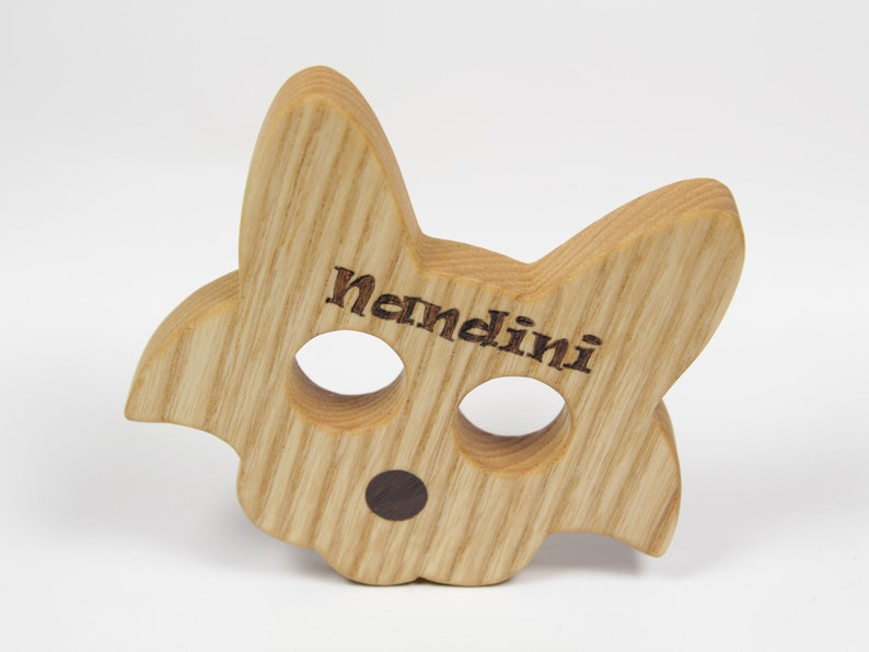 Personalized Cat Teether Wooden Teether Natural Wood Ash