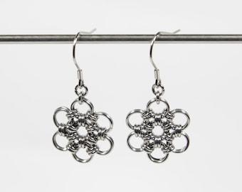 Japanese 12 in 2 Earrings, Chainmaille Earrings, Stainless Steel, Chainmail Earrings, Flower Earrings, Drop Earrings, Dangle Earrings