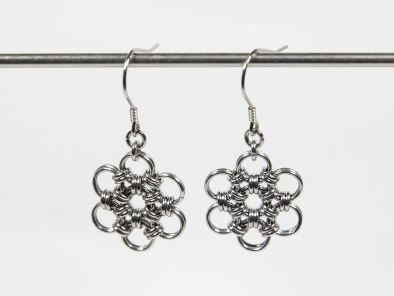Japanese 12 in 2 Earrings Chainmaille Earrings Stainless image 0