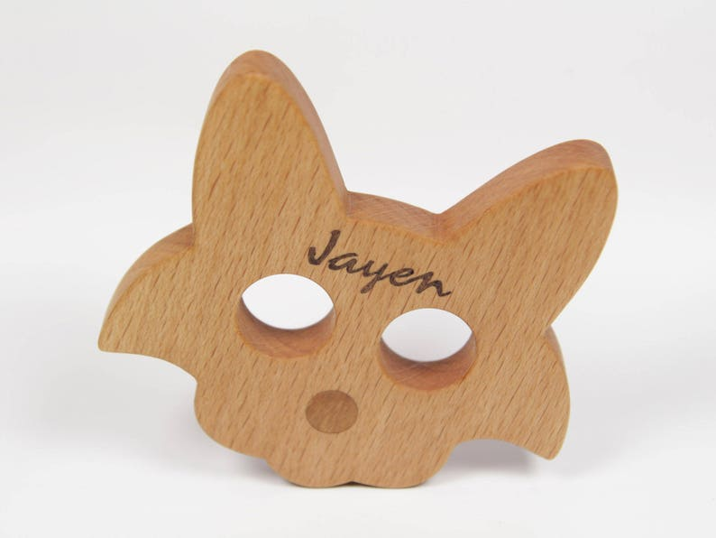 Personalized Cat Teether Wooden Teether Natural Wood Beech