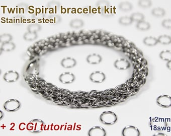 Twin Spiral Bracelet Kit, Chainmaille Kit, Stainless Steel, Chainmail Kit, Jump Rings, Lobster Clasp, Chainmaille Tutorial, Spiral Chain