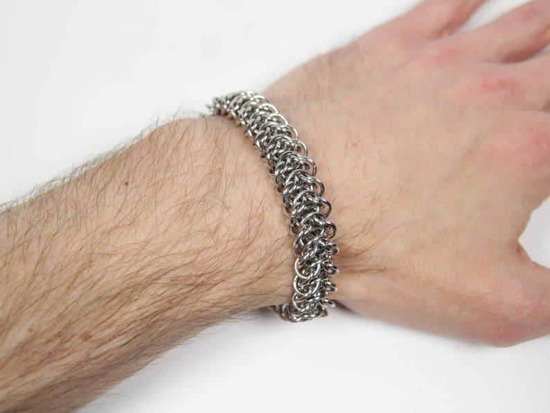 ab6ca9bbccf Bracelet chaîne Elf pont Chainmaille Bracelet en acier
