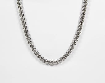 JPL Necklace, Chainmaille Necklace, Stainless Steel, Chainmail Necklace, Chain Maille, Jens Pind Linkage, Mens Necklace, Mens Jewelry