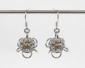 Tetra Orb Earrings, Captured Bead Earrings, Chainmaille Earrings, Stainless Steel, Chainmail Earrings, Drop Ball Earrings, Dangle Earrings
