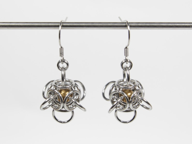 Tetra Orb Earrings Captured Bead Earrings Chainmaille image 0