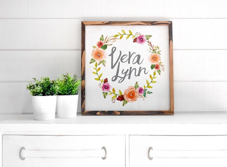 Personalized Vintage Floral Name Sign  FREE SHIPPING  image 0