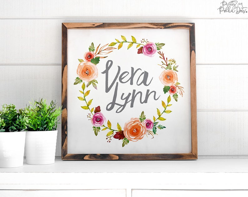 Custom Floral Sign  FREE SHIPPING  Personalized Name Sign  image 0
