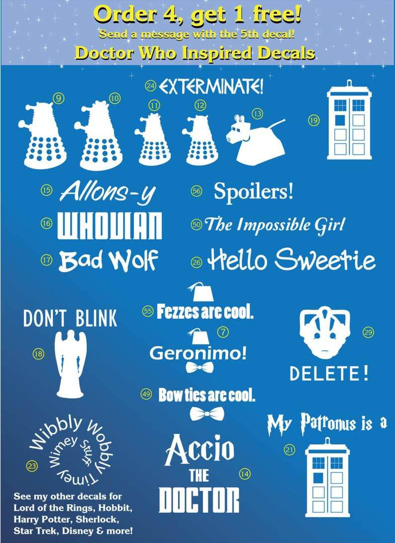 Doctor Who Inspired Decals  Buy 4 get 1 FREE image 0