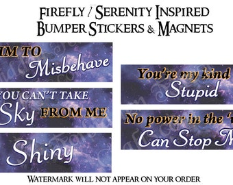 Firefly Inspired Bumper Stickers and Magnets