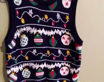 Route 66 Ugly Christmas Sleeveless Sweater Vest Size Large