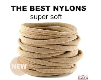 Nylon Headbands NUDE nylon baby headbands  Wholesale nylon elastic one size fits all  Soft Thin Stretchy Bulk DIY Craft Supply Baby Shower