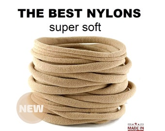 Nylon headbands, nude nylon headband, beige bulk nylon, One Size Fits most Nylon Baby Headband,Toddler, Infant , Newborn Skinny Very Stretch