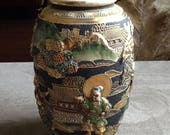 Japanese Royal Satsuma Moriage Artisan Relief Enamels Gilding With Arhats Religious Figures Artist Signed Japan 1900s