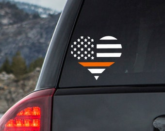 Thin orange line heart decal, EMS Decal, EMT Decal, Paramedic Decal, EMS Wife, ems sticker, ems gift, paramedic gift, emt gift, emt wife