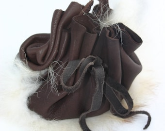 Patchwork Brown Leather and White Fur Dice Bag