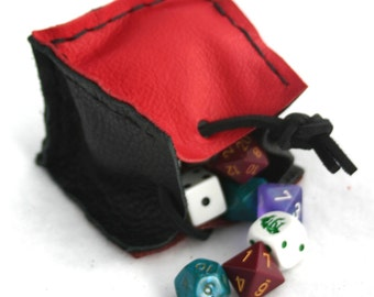 Red, Black, and Dark Brown Dice Bag