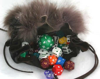 Brown Leather and Fur Dice Bag