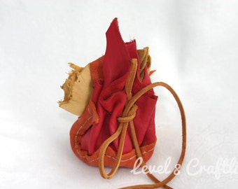 Patchwork Leather Dice Bag in Flame Colors