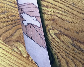 Leather Bookmark Firefly Serenity Leaf on the Wind Wash