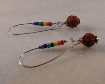 Rainbow Earrings, Seven Chakra Earrings, Rudraksha Earrings, Colourful Earrings, Kidney Hook Beaded Earrings