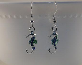Seahorse Earrings, Blue & Green Seahorse Earrings, Enamel Seahorse Charm Earrings, Sea Animal Earrings, Aquatic Seahorse Earrings, Cute Gift