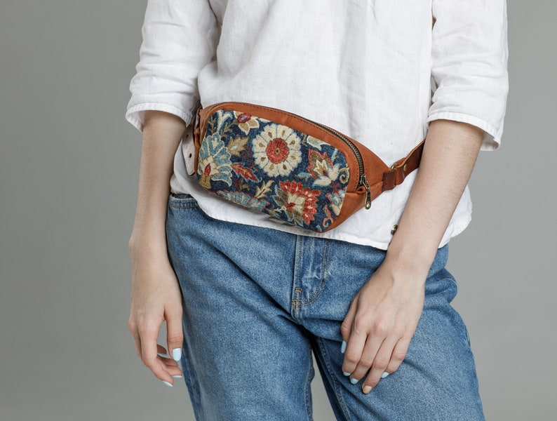 cdd14890ee64 Leather Fanny Pack for Women, Tapestry Flower Blue Belt Bag, Waxed Leather  Waist Bag, Purse with Print Secret Garden