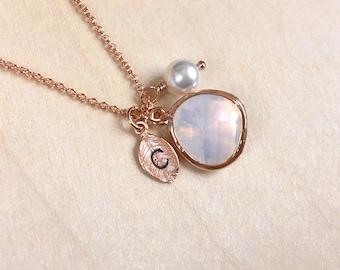 October Birthstone Necklace, Opal Necklace Rose Gold, Initial Pearl Necklace, Opal Birthstone, October Birthday Necklace, October Birthday