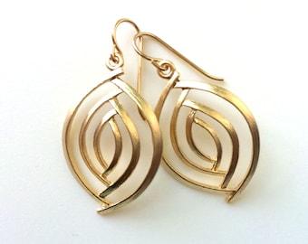 Gold Almond Shape Earrings, Matte Gold Dangle Earrings