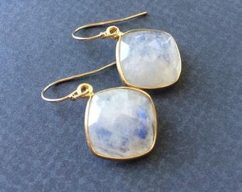 Moonstone Earrings, Gorgeous Fire, Rainbow Moonstone Earrings, Dangle, Moonstone Gold Earrings Gemstone