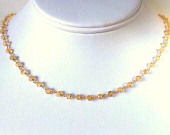 Citrine Gold Necklace, Faceted Rondelle Golden Citrine Necklace