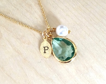 Emerald Necklace, May Birthstone Necklace, Leaf Initial jewelry, May Birthstone Jewlery, Emerald Birthday Necklace