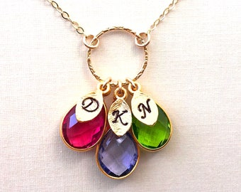 Birthstone Necklace, Mother's Day Gift Custom necklace for Mom, Mom Necklace, Initial necklace, initial necklace gold
